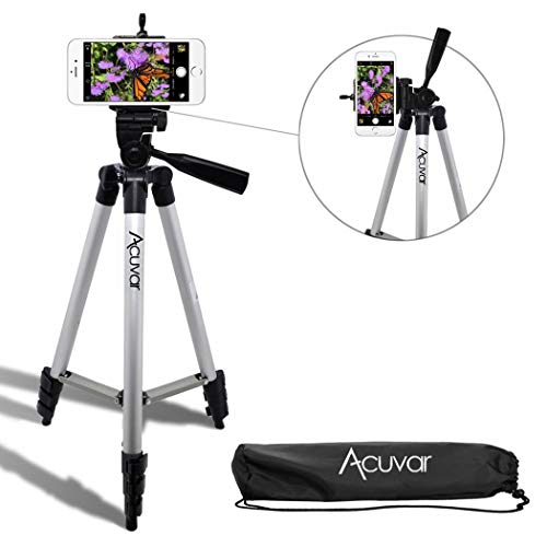 """Acuvar 50"""" Inch Aluminum Camera Tripod + Universal Smartphone Mount for iPhone Xs, Max, Xr, X, 8, 8+, Pixel 3, XL, Android Note 9, S9 & More Smartphones"""