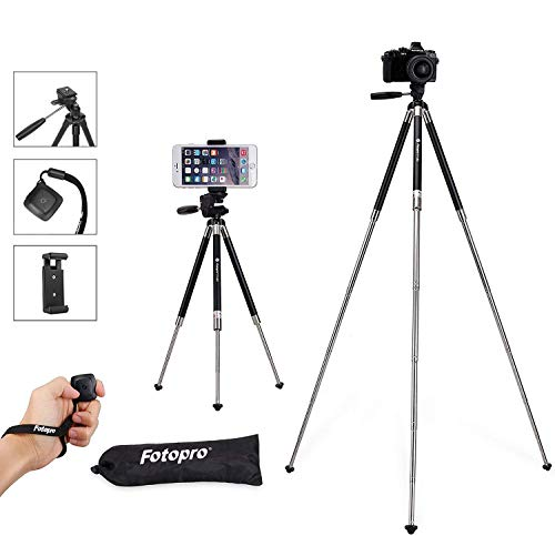 Fotopro Phone Tripod, 39.5 Inch Aluminum Camera Tripod with Bluetooth Remote Control and Bag for iPhone 8/Plus, Samsung, Huawei, GoPro