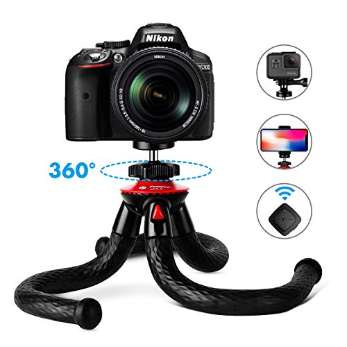 "Tripods for Phone, Fotopro 12"" Flexible Tripod with Bluetooth for iPhone X 8 Plus,Samsung S9,Waterproof and Anti-Crack Camera Tripod for GoPro,360 Degree Spherical Camera for Time-Lapse Photography"