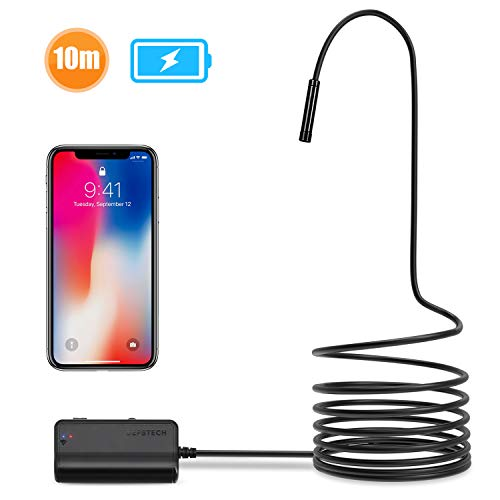 DEPSTECH 1200P Semi-rigid Wireless Endoscope, 2.0 MP HD WiFi Borescope Inspection Camera,16 inch Focal Distance & 1800mAh Battery Snake Camera for Android & IOS Smartphone Tablet