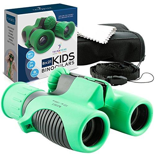 THINKPEAK TOYS Binoculars for Kids High Resolution 8x21 - Compact Binocular Set for Bird Watching, Hiking, Outdoor Games, Camping Gear, Backyard Safari, Learning, Outside Play, Boys and Girls Gifts