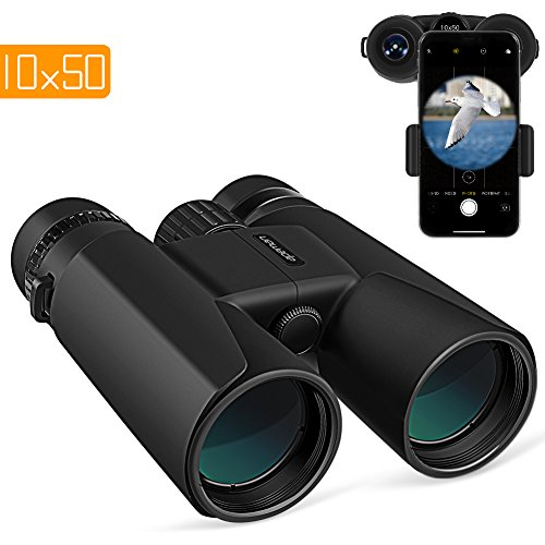 APEMAN 10X50 HD Binoculars for Adults with Low Light Night Vision,Compact Binoculars for Bird Watching,Hunting,Sports Events,Travelling,Adventure and Concerts,FMC Lens with Smart Phone Adapter (10X50)