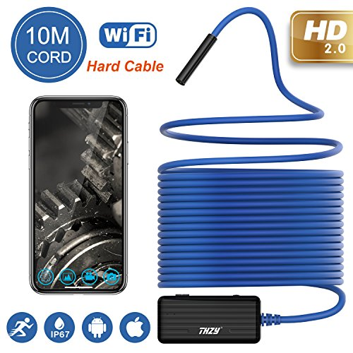 Wireless Endoscope THZY 1200P HD 10m WiFi Borescope Inspection Camera 2.0 Megapixels Snake Camera for Android iOS Smartphone, iPhone, Tablet iPad Blue