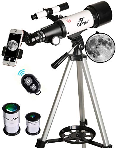 Telescope, Travel Scope, 70mm Aperture 400mm AZ Mount Astronomical Refractor Telescope for Kids Beginners - Portable Travel Telescope with Carry Bag, Smartphone Adapter and Bluetooth Camera Remote