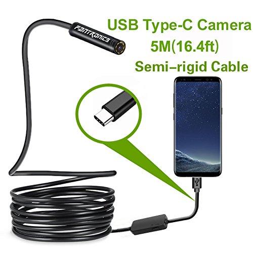 USB Snake Inspection Camera,Fantronics 2.0 MP IP67 Waterproof USB C Borescope,Type-C Endoscope with 8 Adjustable LED Lights for (16.4ft) Samsung Galaxy S9/S8, Google Pixel, Nexus 6p, Huawei P20