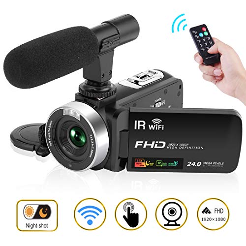 "Camcorder Digital Video Camera, Camcorder with Microphone WiFi IR Night Vision Full HD 1080P 30FPS 3"" LCD Touch Screen Vlogging Camera with Remote Control (V2)"