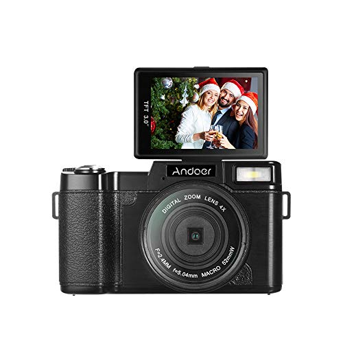 "Andoer R1 1080P 15fps Full HD 24MP Digital Camera Cam Camcorder 3.0"" Rotatable LCD Screen Anti-shake 4X Digital Zoom Retractable Flashlight with UV Filter"