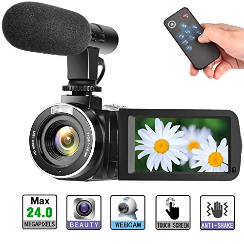 Camcorder Digital Video Camera, Digital Camera Full HD 1080P 30FPS 3'' LCD Touch Screen Vlogging Camera with External Microphone and Remote Control
