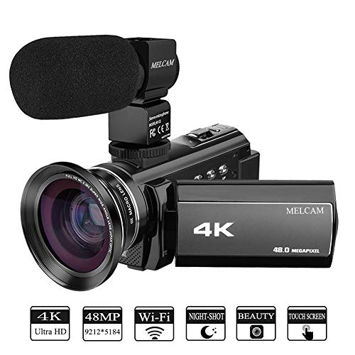 Video Camera 4K Camcorder MELCAM Ultra HD 48.0MP 60FPS 3.0 inch 270 Degree Touch Screen, YouTube Vlogging Camera External Microphone and Wide Angle Lens, WiFi Function, Time-lapse, Night Vision
