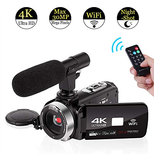 4K Camcorder Video Camera WiFi Camcorders with Microphone Digital Camera Full HD 30.0MP 3.0 inch Touch Screen with IR Night Vision