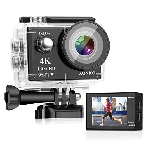 """Action Camera ZONKO 16MP 4K Sony Sensor 4X Zoom Wi-Fi Sports Camera 2"""" LCD Remote Control Waterproof Camera with 170°Wide Angle 2×1050mAh Batteries Include 19 Accessories kit - Free Carrying Case"""