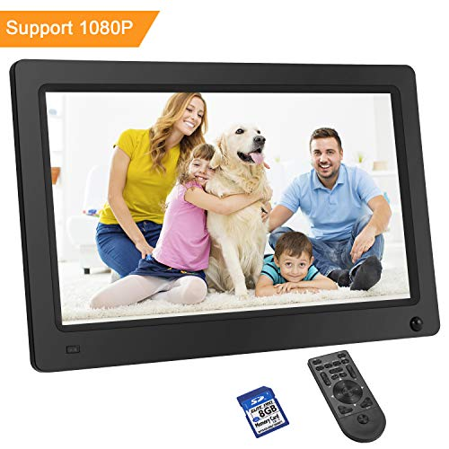 LESHP Digital Photo Frame 11.6 Inch 1920x1080 Hi-Res with IPS LCD and Motion Sensor 1080P Full HD Video Playback Photo Calendar Slideshow Music Video Player Non-WiFi (Gift:8G SD Card Class10)