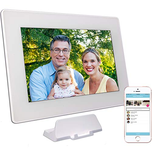 PhotoSpring (16GB) 10-inch WiFi Cloud Digital Picture Frame - Battery, Touch-Screen, Plays Video and Photo Slideshows, HD IPS Display, iPhone & Android app (White - 15,000 Photos)