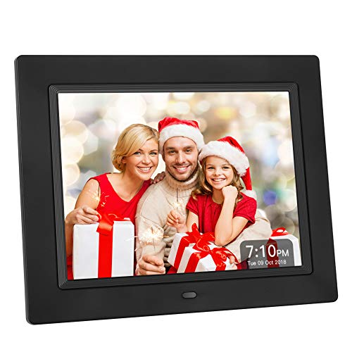 Crosstour Digital Photo Frame 8 Inch Black, for Video, Photo & Business Menu, 4:3 Wide Screen Wall Mounted or Desk Picture Frame with Remote Control, Best Gift for Your Christmas&New Year
