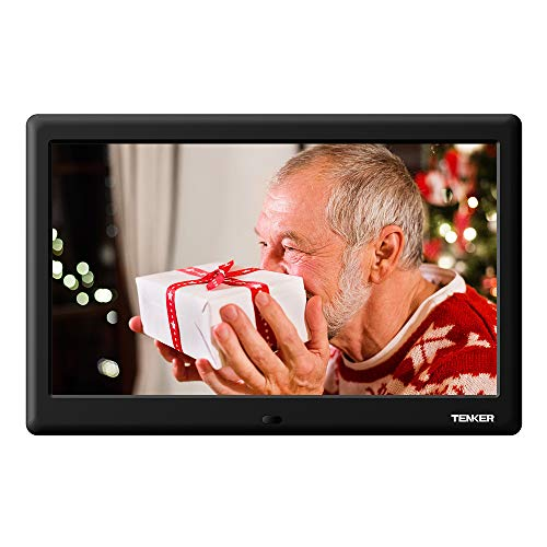 TENKER [Update Version] 10-inch HD Digital Photo Frame with Auto-Rotate/Calendar/Clock Function, MP3/Photo/Video Player with Remote Control