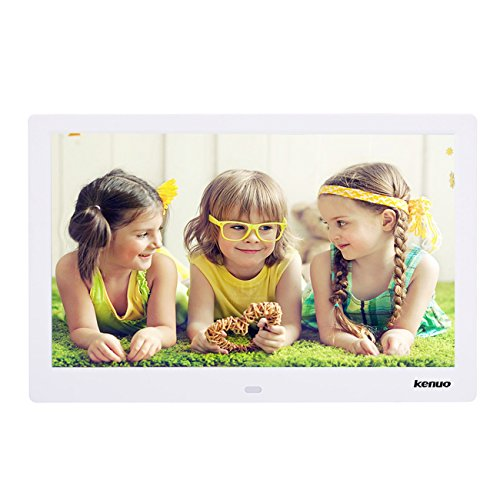 Digital Photo Frame 15 Inch,Kenuo Advertising Media Player 16:9 with 1280 x 800 HD LED Screen & Remote Control and Auto On/Off Timer- White