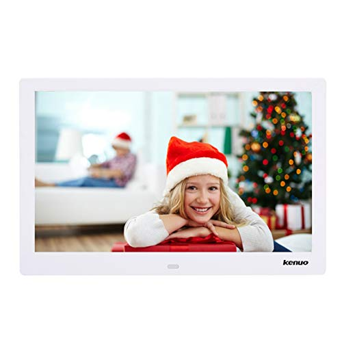 Digital Video Picture Frame 13 Inch,Kenuo 1280 x 800 HD LED Screen with Calendar, MP3/Photo/Video Player with Remote Control - White