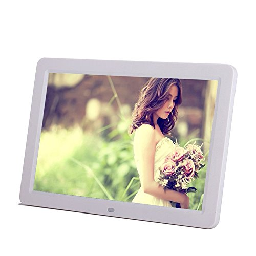"Minidiva 12"" 1080P HD LED Digital Photo Frame(16:9) - Multifunction Digital Picture Display 1280x800 with Max 32GB Storage(White)"