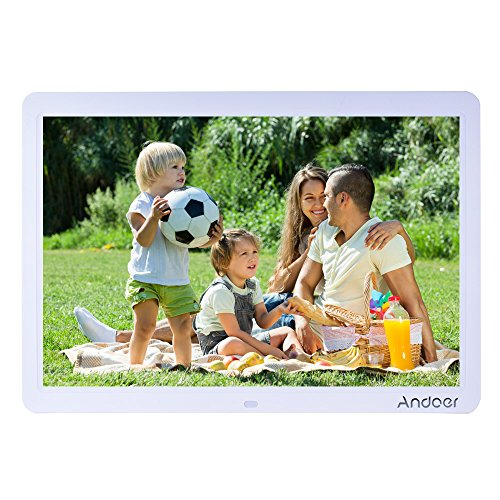 Andoer HD LED Digital Photo Picture Frame 15 inch Wide Screen High Resolution 1280 x 800 with Remote Control and CR2025 ontroller Battery