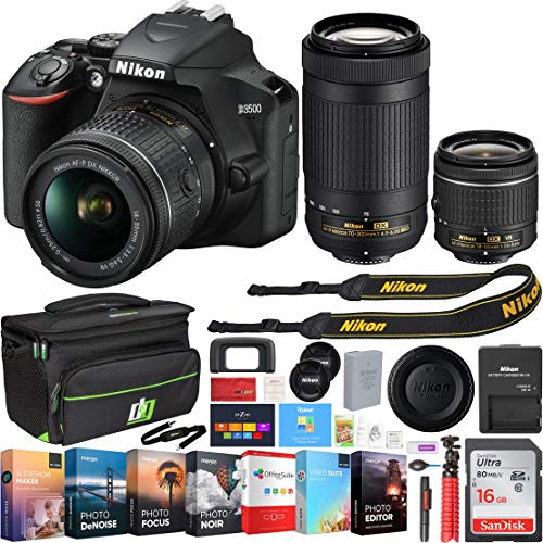 Nikon D3500 DSLR Camera w/AF-P DX 18-55mm & 70-300mm Zoom Lens 64GB Accessory Bundle