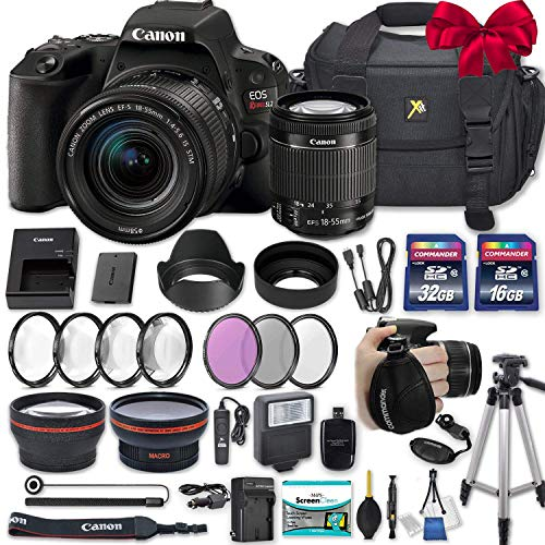 """Canon EOS Rebel SL2 DSLR Camera with EF-S 18-55mm f/4-5.6 is STM Lens + 2 Memory Cards + 2 Auxiliary Lenses + HD Filters + 50"""" Tripod + Premium Accessories Bundle (24 Items)"""