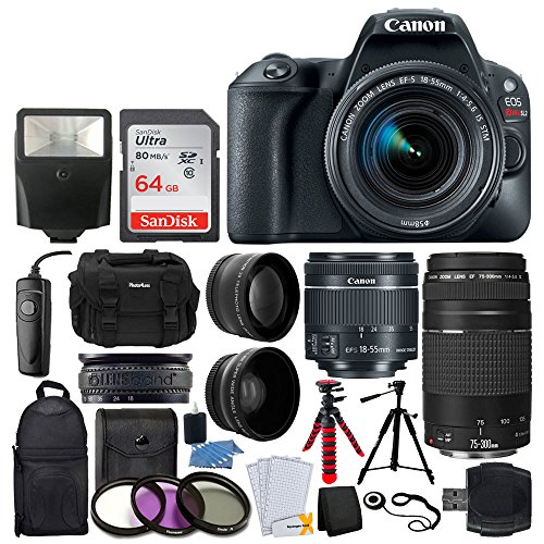 Canon EOS Rebel SL2 DSLR Camera + EF-S 18-55mm IS STM + EF 75-300mm III + 64GB Memory Card + Wide Angle & Telephoto + RS-60 Remote Switch + Slave Flash + Quality Tripod + Case & Backpack - Full Bundle