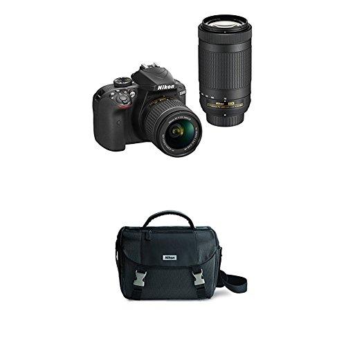 Nikon D3400 w/ AF-P DX NIKKOR 18-55mm f/3.5-5.6G VR & AF-P DX NIKKOR 70-300mm f/4.5-6.3G ED (Black) w/ Nikon DSLR Bag