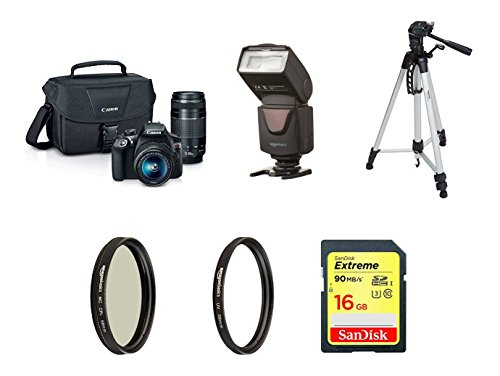 Canon EOS Rebel T6 Digital SLR Camera Kit with EF-S 18-55mm and EF 75-300mm Zoom Lenses (Black) with tripod, 16GB memory card, UV filter, Polarizer and Flash