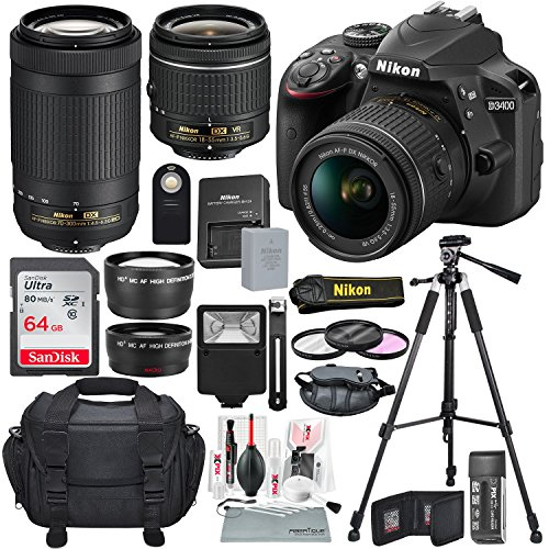 Nikon D3400 with AF-P DX NIKKOR 18-55mm f/3.5-5.6G VR + Nikon AF-P DX NIKKOR 70-300mm f/4.5-6.3G ED Lens + 64GB, Deluxe Accessory Bundle and Xpix Cleaning Accessories