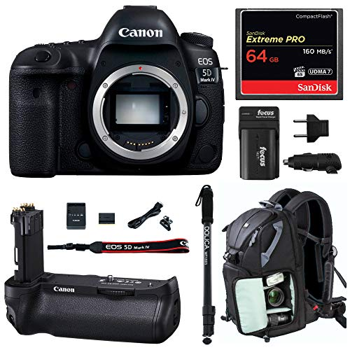Canon EOS 5D Mark IV Full Frame Digital SLR Camera Body DSLR Bundle + Original Canon BG-E20 Battery Grip + 64GB SD Card Backpack & Double Battery Charger - Advanced Photography & Travel Bundle