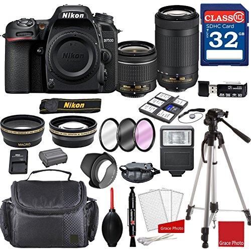 Nikon D7500 DX-format Digital SLR w/AF-P DX NIKKOR 18-55mm f/3.5-5.6G VR Lens & AF-P DX 70-300mm f/4.5-6.3G ED Lens + Professional Accessory Bundle