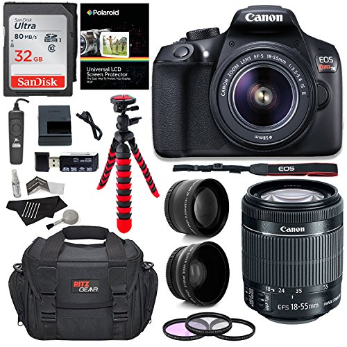 "Canon EOS Rebel T6 Digital SLR Camera Kit with EF-S 18-55mm f/3.5-5.6 IS II Lens + Polaroid .43x Super Wide Angle & 2.2X HD Telephoto Lens + 50"" & 8"" Polaroid Tripods + Memory Cards + Accessory Bundle"