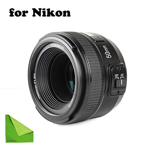 YONGNUO YN EF 50mm f/1.8 AF Lens YN50 Aperture Auto Focus for Nikon Cameras as AF-S 50mm 1.8G with EACHSHOT Cleaning Cloth