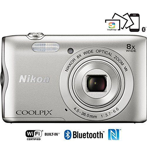 Nikon Coolpix A300 20.1MP 8x Optical Zoom NIKKOR WiFi Silver Digital Camera 26519B - (Certified Refurbished)