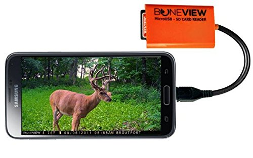 BoneView SD Micro SD Memory Card Reader Trail Camera Viewer for Android Micro-USB & Type-C OTG Smart Phone to View Deer Hunting Game Cam Photo & Video, Free USB-C Adapter Included