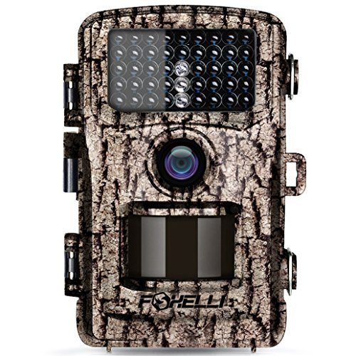 """Foxelli Trail Camera - 14MP 1080P Full HD Wildlife Scouting Hunting Camera with Motion Activated Night Vision, 120° Wide Angle Lens, 42 IR LEDs and 2.4"""" LCD Screen, IP66 Waterproof Game Camera"""