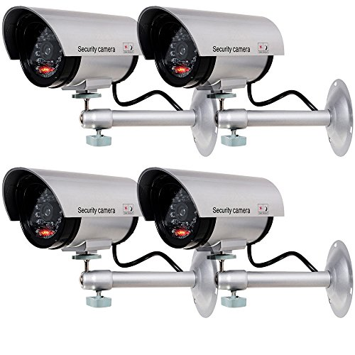 WALI Bullet Dummy Fake Surveillance Security CCTV Dome Camera Indoor Outdoor with one LED Light + Warning Security Alert Sticker Decals (TC-S4), 4 Packs, Silver