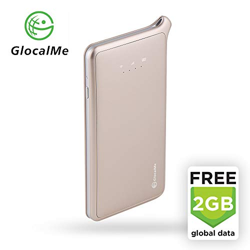 GlocalMe U2 LTE Global Mobile Hotspot Wi-Fi with 2GB Global Initial Data, SIM Free, for Internet Coverage in Over 100 Countries, Compatible with Smartphones, Tablets, Laptops and More - (Gold)