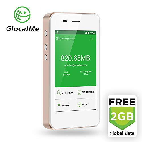 GlocalMe G3 LTE Global Mobile Hotspot Wi-Fi with 2GB Global Initial Data, SIM Free, for Internet Coverage in Over 100 Countries, Compatible with Smartphones, Tablets, Laptops and More - (Gold)