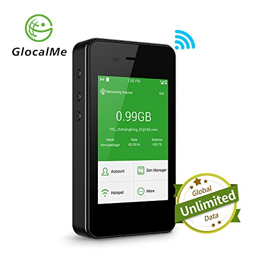 GlocalMe G2 Mobile Hotspot, 4G High Speed Unlimited Data Plan Global WIFI Hotspot, SIM Free No Roaming Charge Unlocked Internet Access for Travel and Outdoor (Black)(Valid from next month once buying)