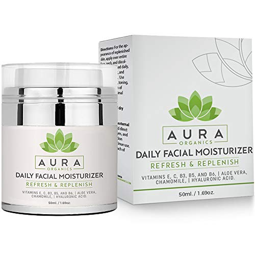 Moisturizer for Face - Face Lotion & Cream by Aura Organics - Includes Hyaluronic Acid, Aloe,Chamomile Vitamin C, E, B3, B5, B6. Great for Day and Night!