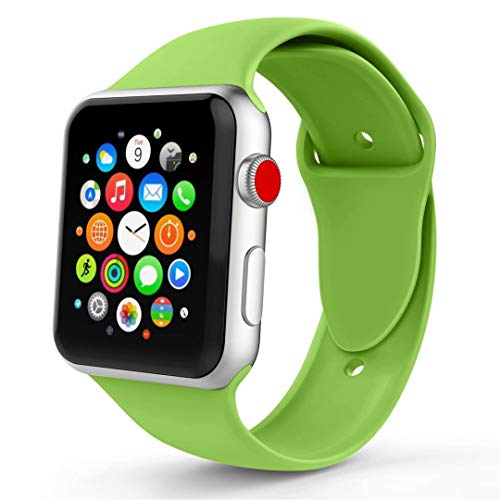 IYOU Sport Band Compatible with Apple Watch Band 38MM 42MM, Soft Silicone Replacement Sport Strap Compatible with Apple Watch Series 3/2/1, All Models More Colors Choose