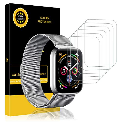 LK [6 Pack] Screen Protector for Apple Watch (42mm Series 3/2/1 44mm Series 4 Compatible), Liquid Skin [Max Coverage] [Anti-Bubble] HD Clear with Lifetime Replacement Warranty