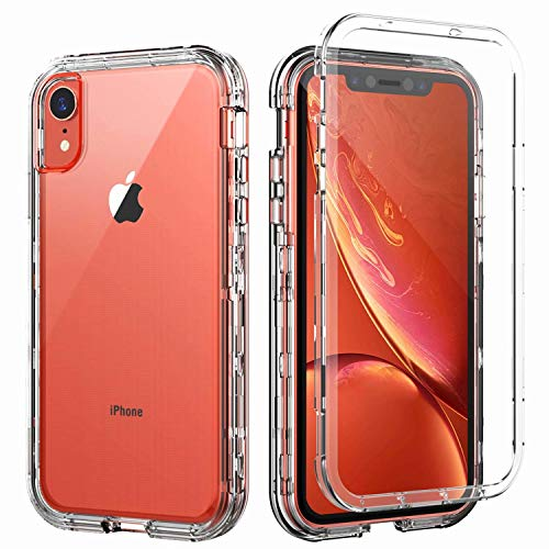 SKYLMW iPhone XR Case,Shockproof Three Layer Protection Hard Plastic & Soft TPU Sturdy Armor High Impact Resistant Cover Case for iPhone XR 2018(6.1 inch) for Men/Women/Girls/Boys,Clear