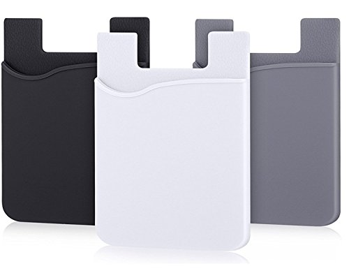 Cell Phone Wallet, Stick on Wallet (3 Pieces) by AgentWhiteUSA: (for Credit Card, Business Card & Id) | Works with Almost Every Phone | iPhone, Android & Most Smartphones (GREYBLKWHT)