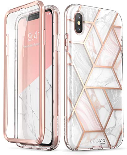 iPhone Xs Max Case, [Scratch Resistant] i-Blason [Cosmo] Full-Body Bling Glitter Sparkle Clear Bumper Case with Built-in Screen Protector for iPhone Xs Max 6.5 inch (2018 Release) (Marble)