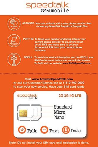 SpeedTalk Mobile Complete Multi-Purpose Triple Cut SIM Card Starter Kit - No Contract (Standard, Micro, Nano)