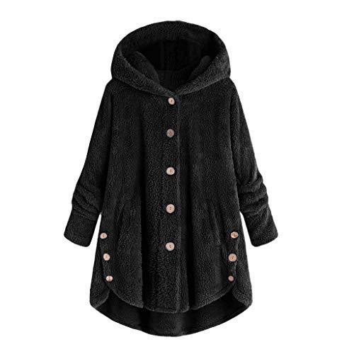 TIFENNY Winter Warm Women's Casual Coat Jacket Long Sleeve Button Plush Parka Outwear Thicken Overcoat