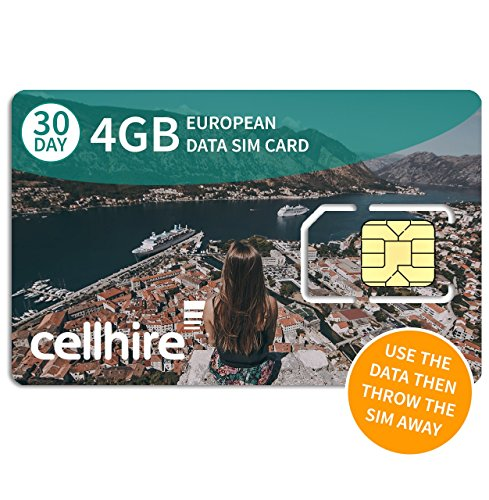 Cellhire Prepaid 4G Europe Data SIM Card - Europe 4GB Bundle - 30 Countries - 3-in-1 SIM