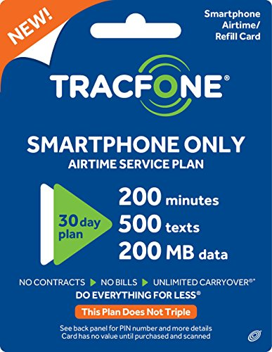 Tracfone Smartphone Only Airtime Service Plan - 30 Days, 200 Minutes, 500 Texts, 200MB Data (Mail Delivery)